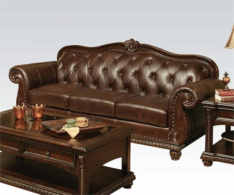 Anondale Acme Top Grain Leather Sofa Set
