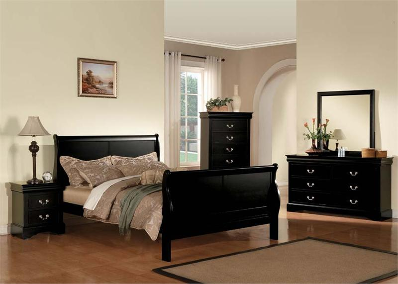 Louis Philippe III Black Bedroom Set
