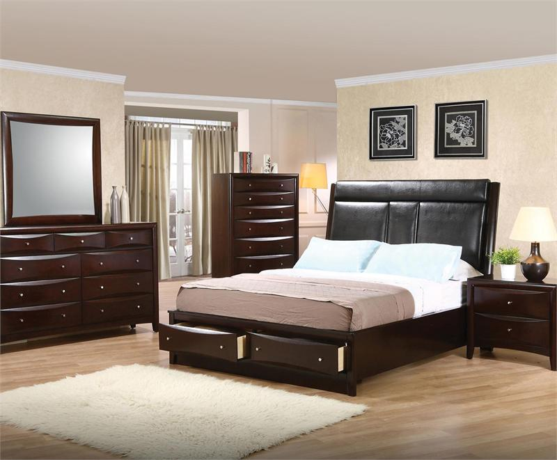 leather headboard storage bedroom set pheonix collection