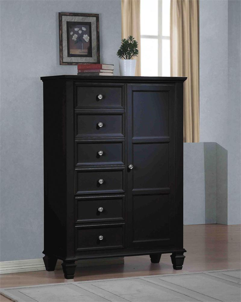 Sandy Beach Black Bedroom Collection Door Chest.