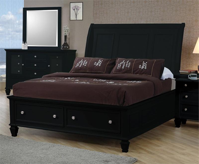 Sandy Beach Black Storage Bed