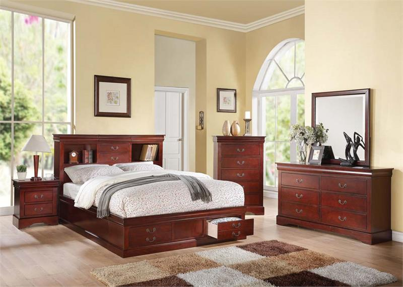 Louis Philippe Iii Cherry Bedroom Set With Storage