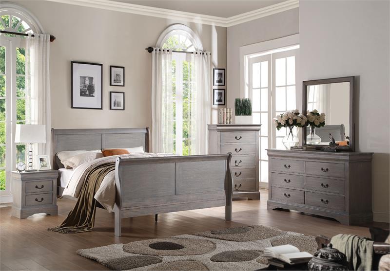 25500 Acme Louis Philippe III Antique Grey Bedroom Set