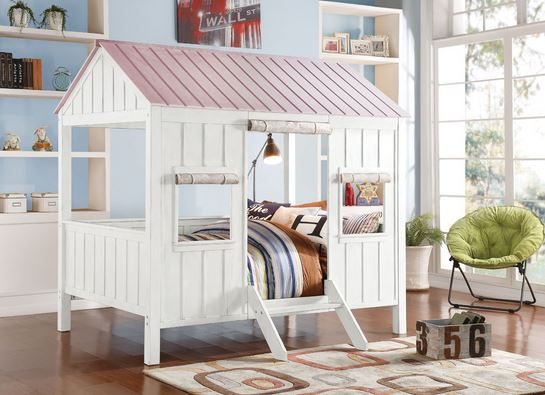 37695f Spring Cottage Acme White Pink House Full Bed
