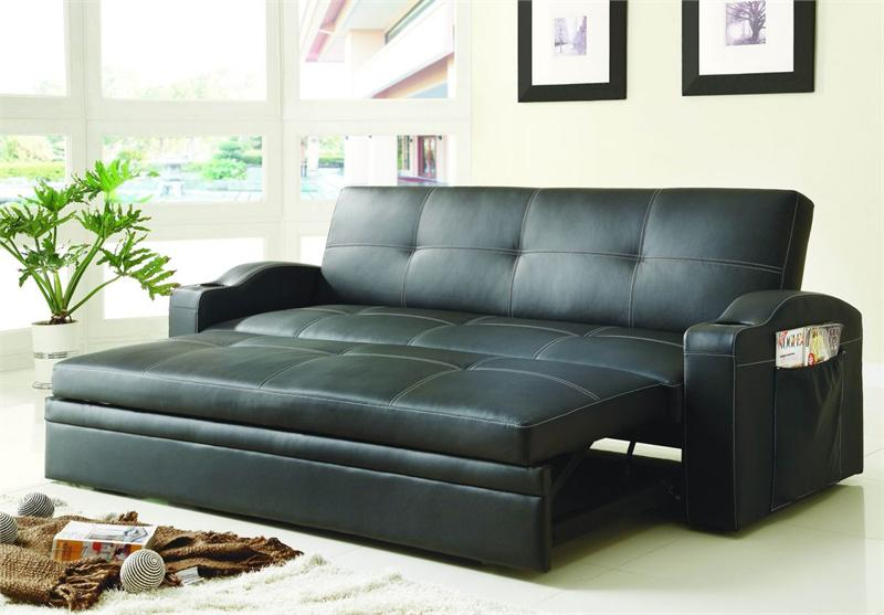 Click Clack Black Futon With Pull Out Bed Novak Collection Style 4803blk