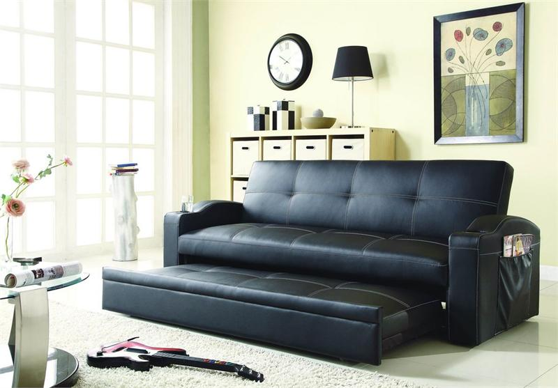 clickclack black futon with pull out bed novak collection