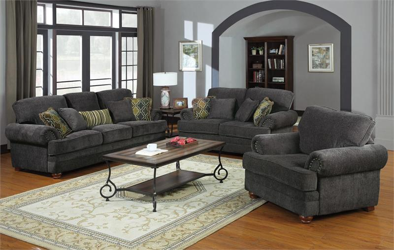 504401 coaster smokey grey sofa set colton collection - Traditional sofa sets living room ...