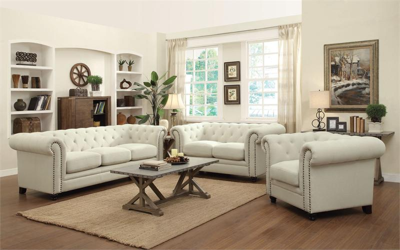 Roy Oatmeal Linen Sofa Set Coaster 504554