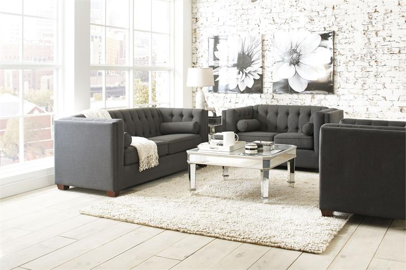 504901 coaster cairns charcoal sofa set collection for Charcoal sofa living room