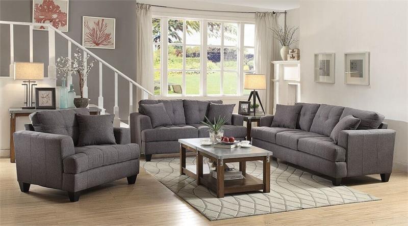 Charcoal samuel sofa set collection coaster 505175 for Charcoal sofa living room ideas