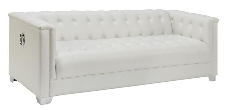 Chaviano Sofa In White Leatherette 505391 By Coaster W Options: 505391 Coaster Chaviano Sofa Set Collection