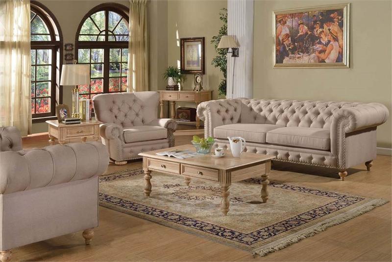 Shantoria Beige Linen Sofa Set Acme 51305