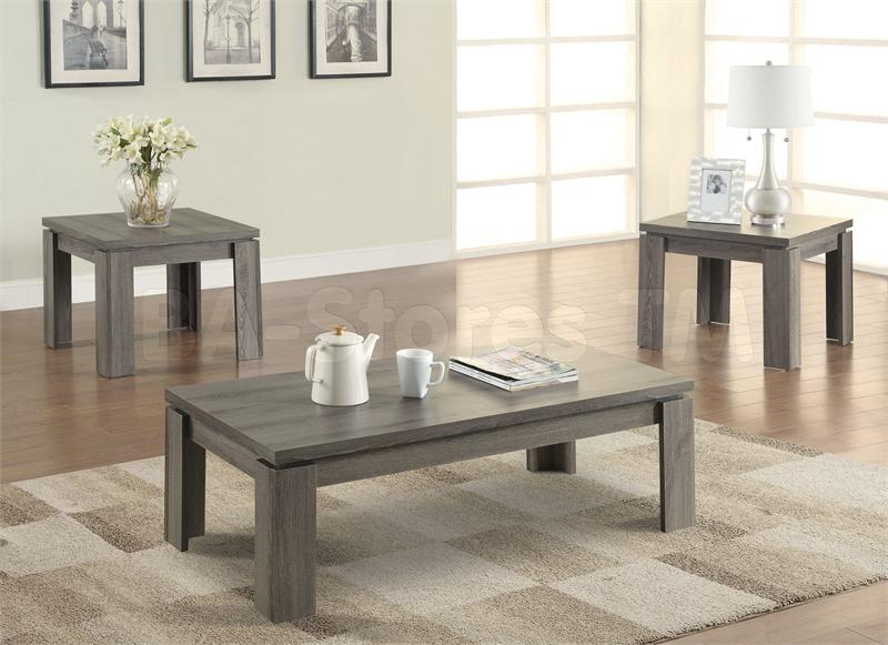 Living Room 3 Piece Table Sets coaster 701686 weathered grey 3 piece coffee table set