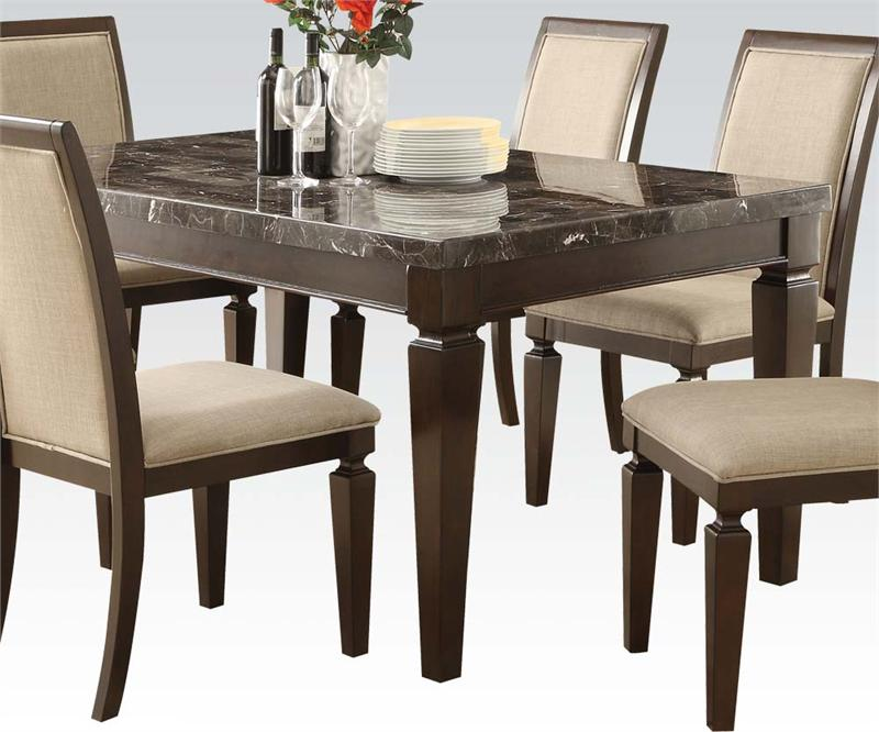 Agatha black marble top dining set Black marble dining table set