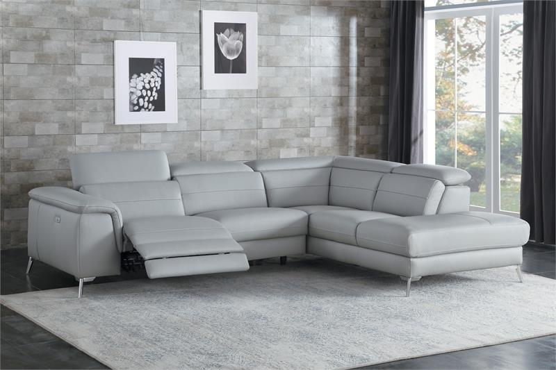 8256 Homelegance Cinque Gray Leather Sectional