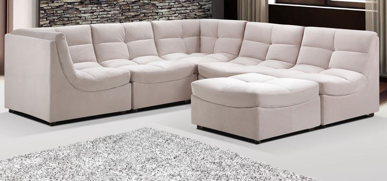 beige upholstered fabric modular sectional sofa