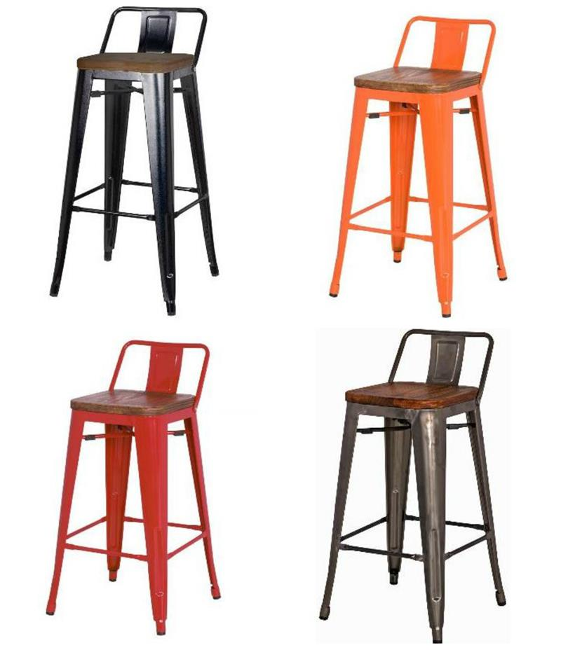 Metropolis Low Back Bar Stool Wood Seat