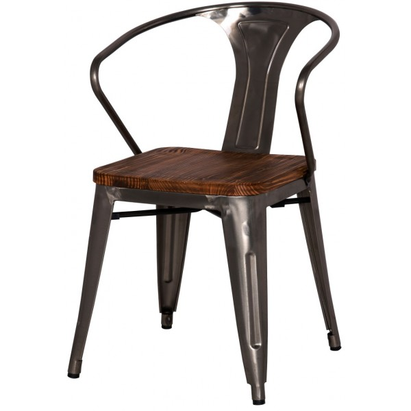 Metropolis metal arm chair wood seat Wood and steel furniture