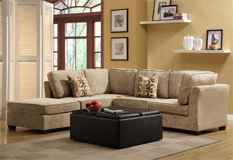 Burke Beige Modular Collection LF Chaise Sectional : beige sectional with chaise - Sectionals, Sofas & Couches