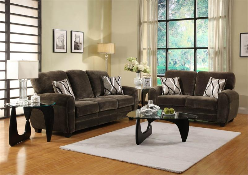Rubin chocolate living room collection item 9734ch for Chocolate brown sofa living room ideas