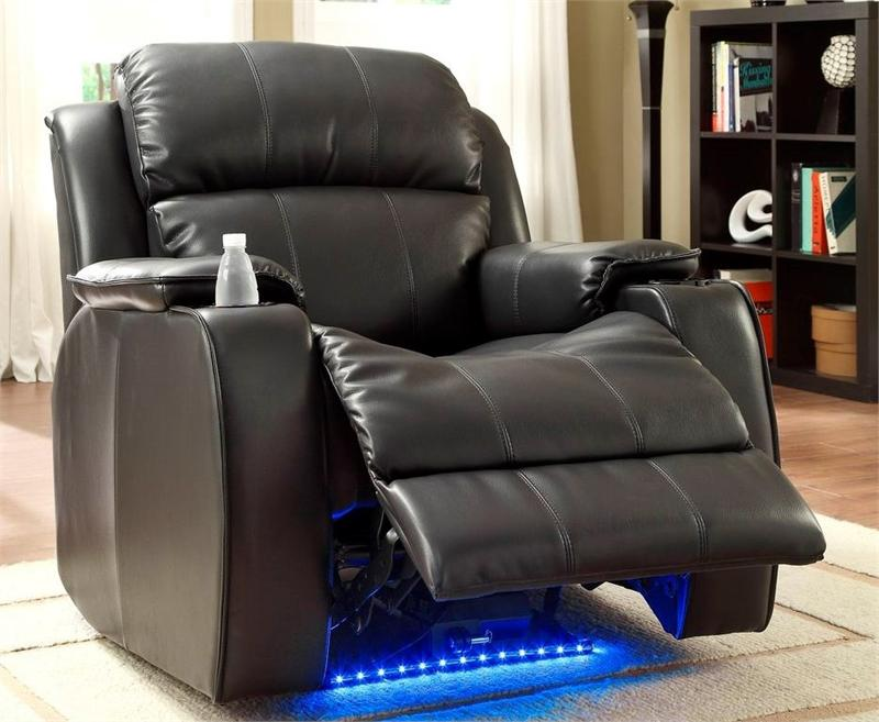 Black power reclining chair with massage led and cup for Coole couch