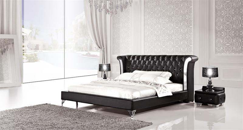 ae b6293 black platform bed with 2 nightstands. Black Bedroom Furniture Sets. Home Design Ideas