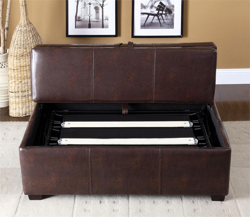 ottoman in brown or black with pull out bed. Black Bedroom Furniture Sets. Home Design Ideas
