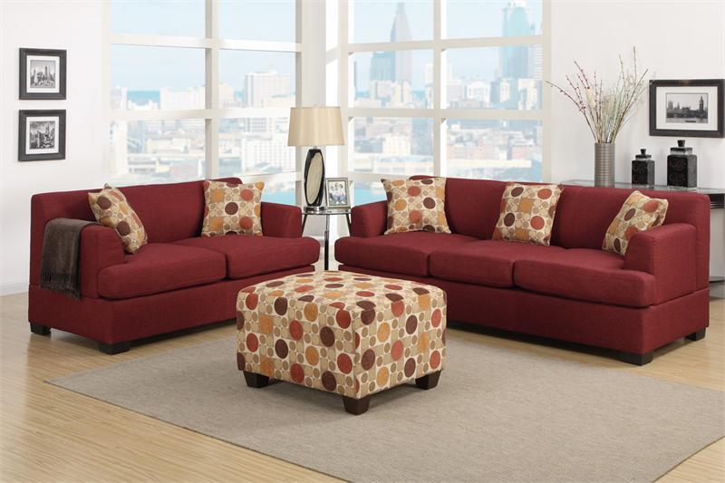 dark red living room set item f7963