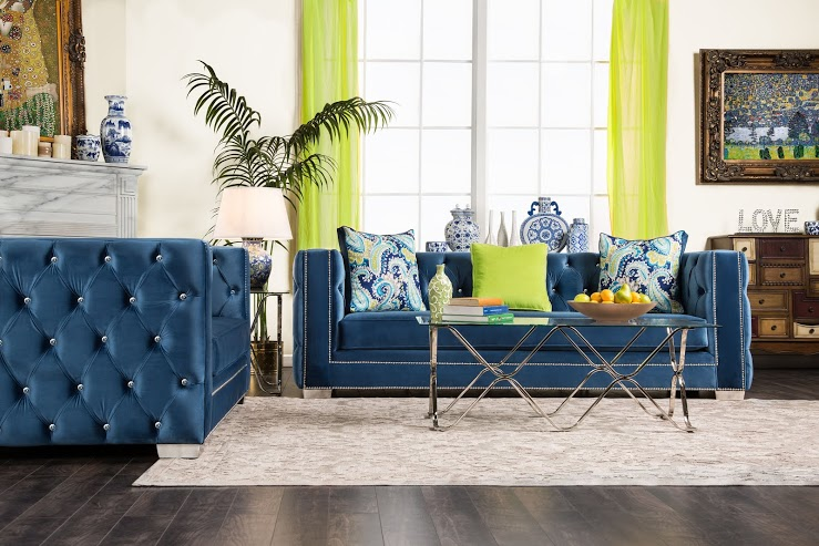 salvatore lapis blue sofa set collection sm2280 - Blue Living Room Set