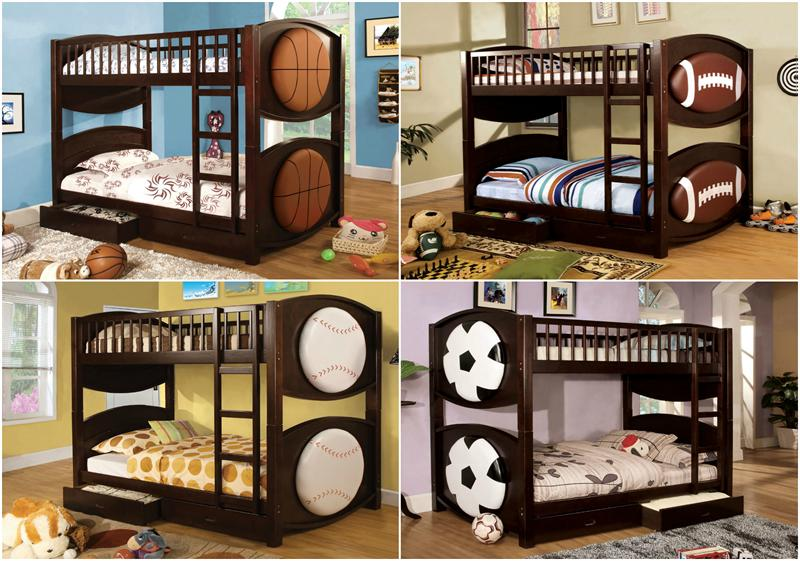 Sport Theme Twin Over Twin Bunk Bed with 2 Drawers Olympic V