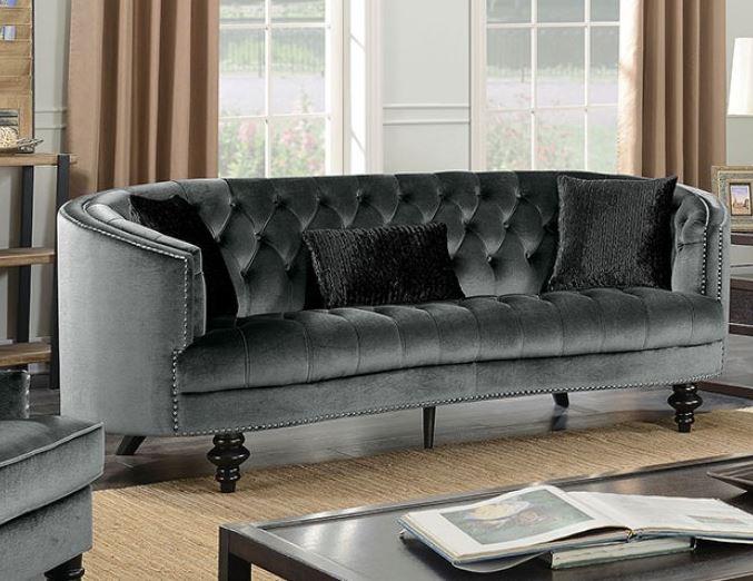 Cm6145 Manuela Dark Gray Sofa Set Collection