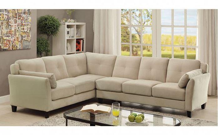 Madrid Taupe Beige Ultra Modern Living Room Furniture 3: CM6368BG Peever II Beige Sectional