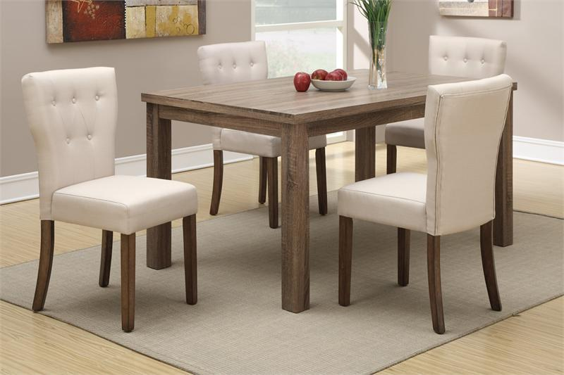 Light Wood Dining Set Poundex F2403 F1384 With Kahki Color Chairs