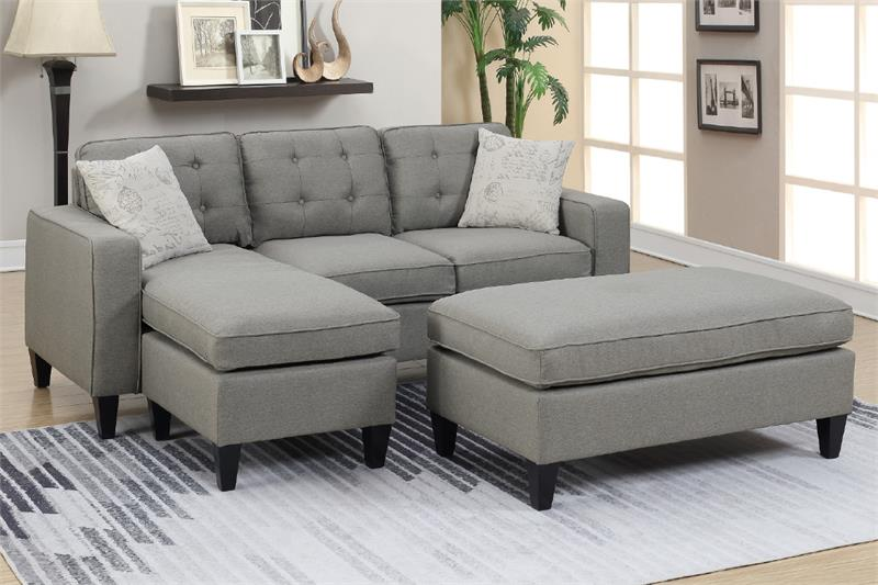 Light Grey Reversible Sectional Poundex F6576
