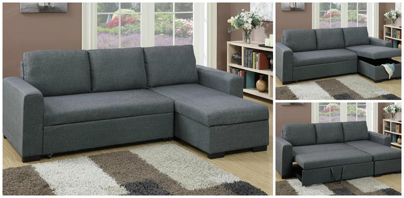f6931 poundex blue grey sectional with pull out bed. Black Bedroom Furniture Sets. Home Design Ideas