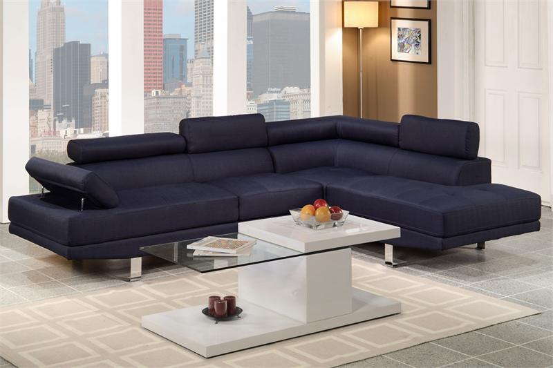 Poundex f7569 dark blue linen sectional sofa for Poundex white faux leather modern sectional sofa