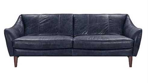 luna ii blue top grain leather sofa collection