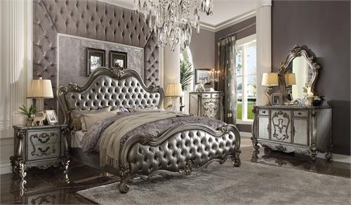Versailles II Collection Padded Silver/Antique Platinum Finish Bedroom Set