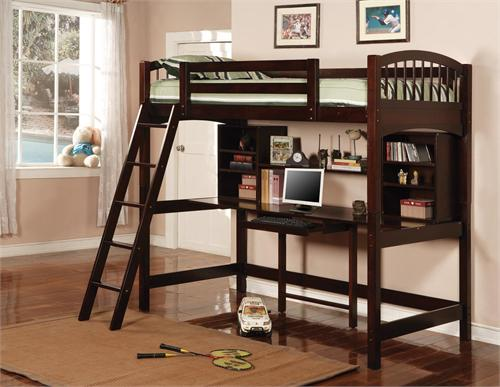 Twin Workstation Bunk,460063 by Coaster,cappuccino finish