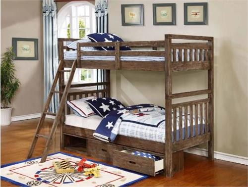 Malcolm Wire Brushed Acacia Twin/Twin Bunk Bed,460371 coaster