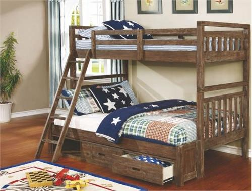 malcolm wire brushed acacia twinfull bunk bed