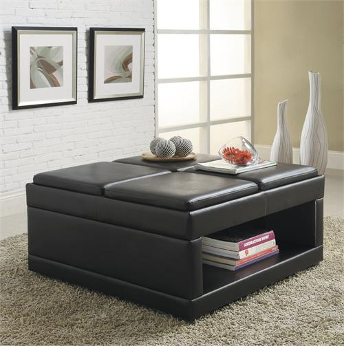 Cockteil Ottoman Fleming Collection ,item 4732 by Home Elegance,dark brown finish
