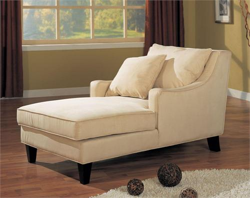 Microfiber Beige Chaise Style 500029 by Coaster Furniture