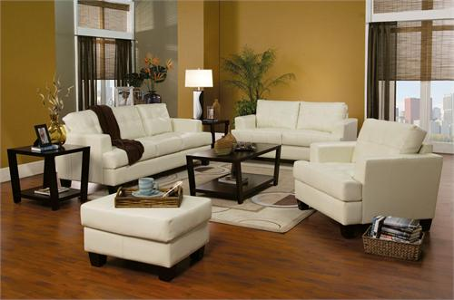 4 pc Cream Leather Living Room Set - Samuel Collection