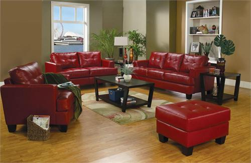 Red Leather Living Room Set - Samuel Collection by Coaster