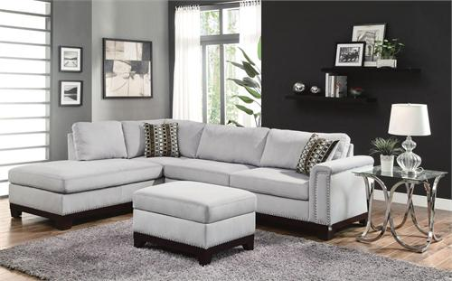 Velvet Blue Grey Sectional Mason Collection item 503615 by Coaster Furniture