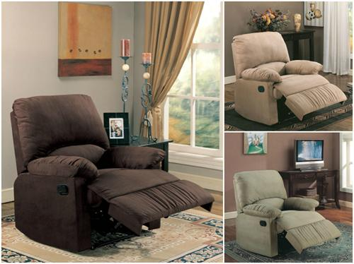 Microfiber Glider Recliner Chair in Light Brown, Chocolate and Sage