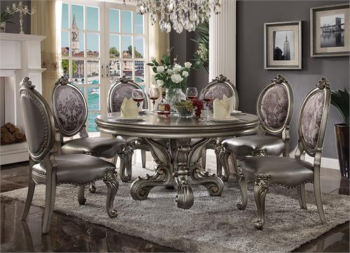 Versailles Antique Platinum Finish Round Dining Set
