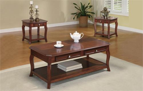 Warm Brown Cherry Coffee Table Set