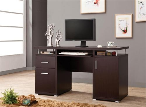 Tracy 2-drawer Computer Desk Cappuccino by Coaster 800107